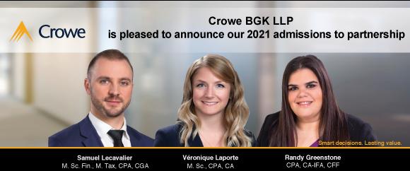 July 2021 - New Partner Admissions 2021 Crowe BGK