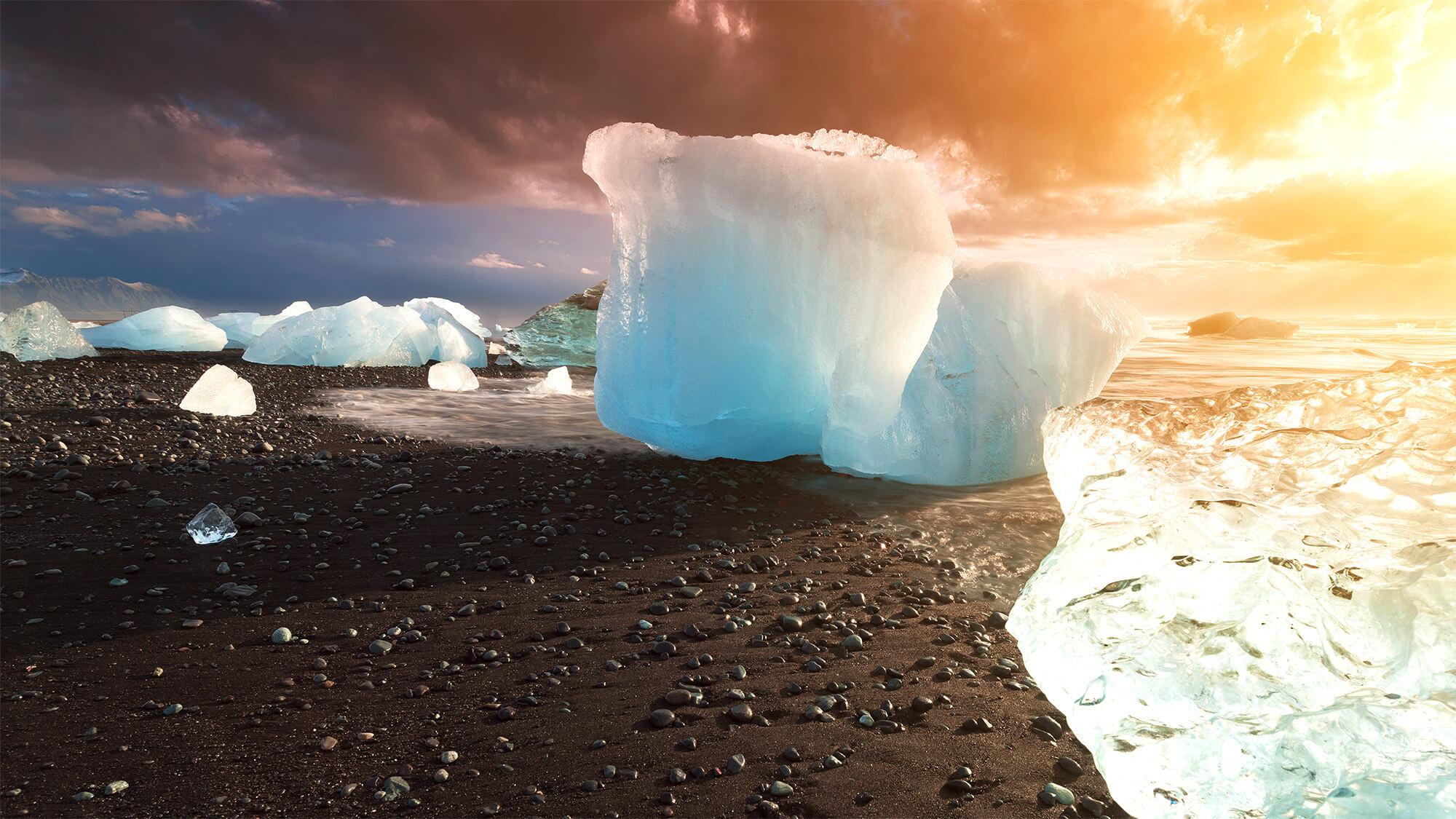 hielo en la playa