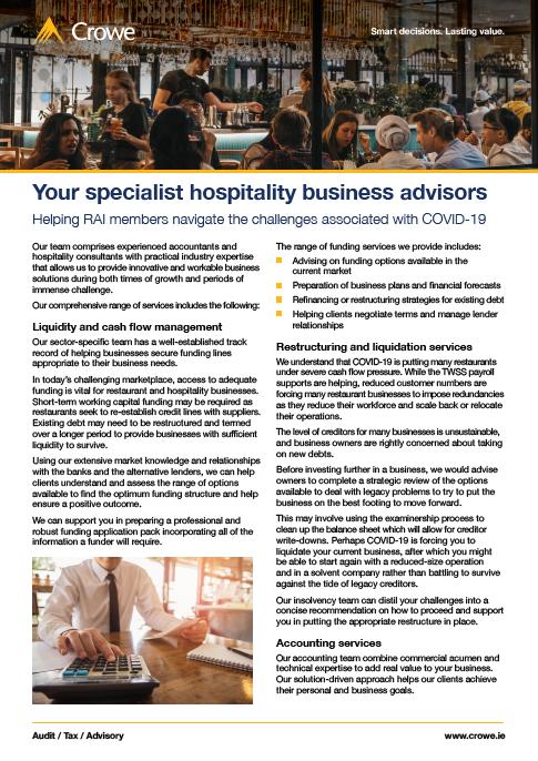 Crowe Ireland specialist restaurant advisors