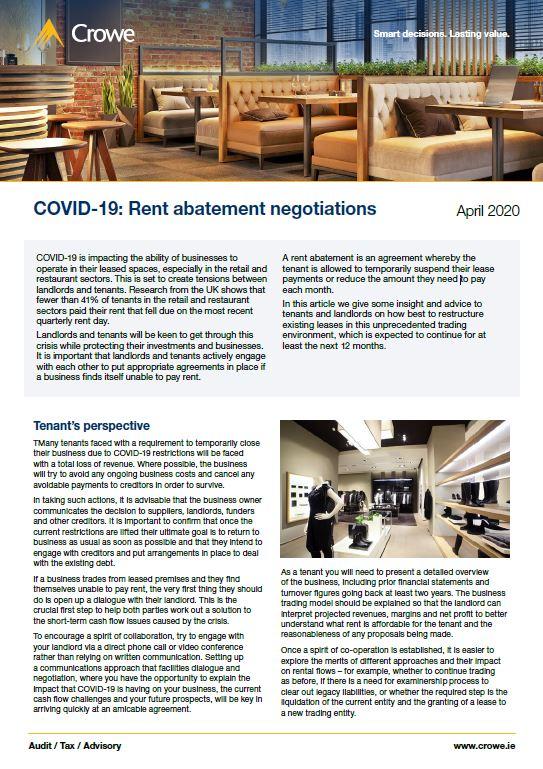 Rent abatement negotiations 2020 cover - Crowe Ireland