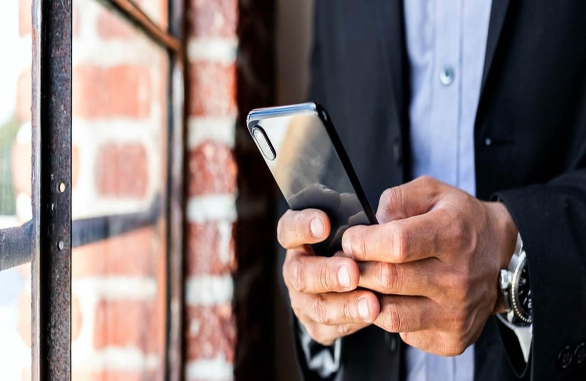 businessman with handphone