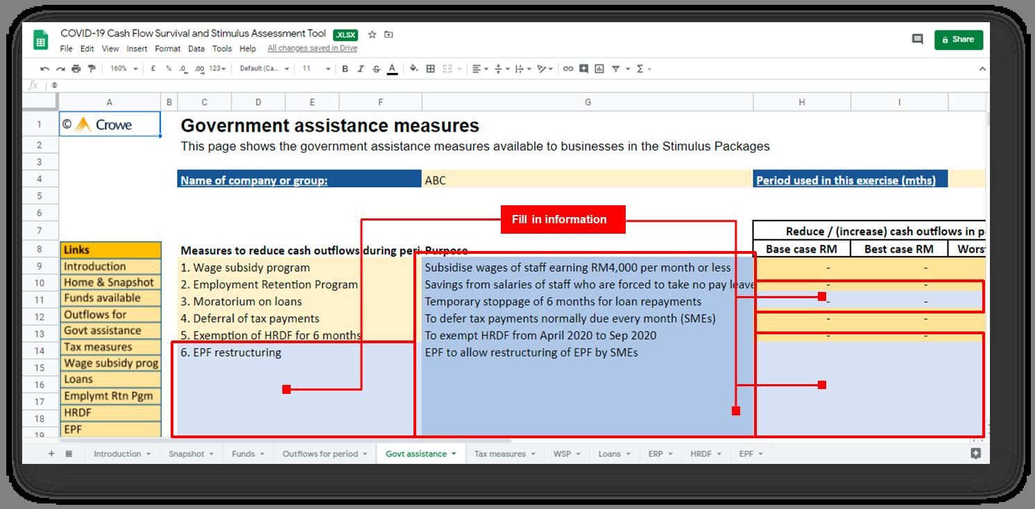 Assessment Tool Govt Assistance
