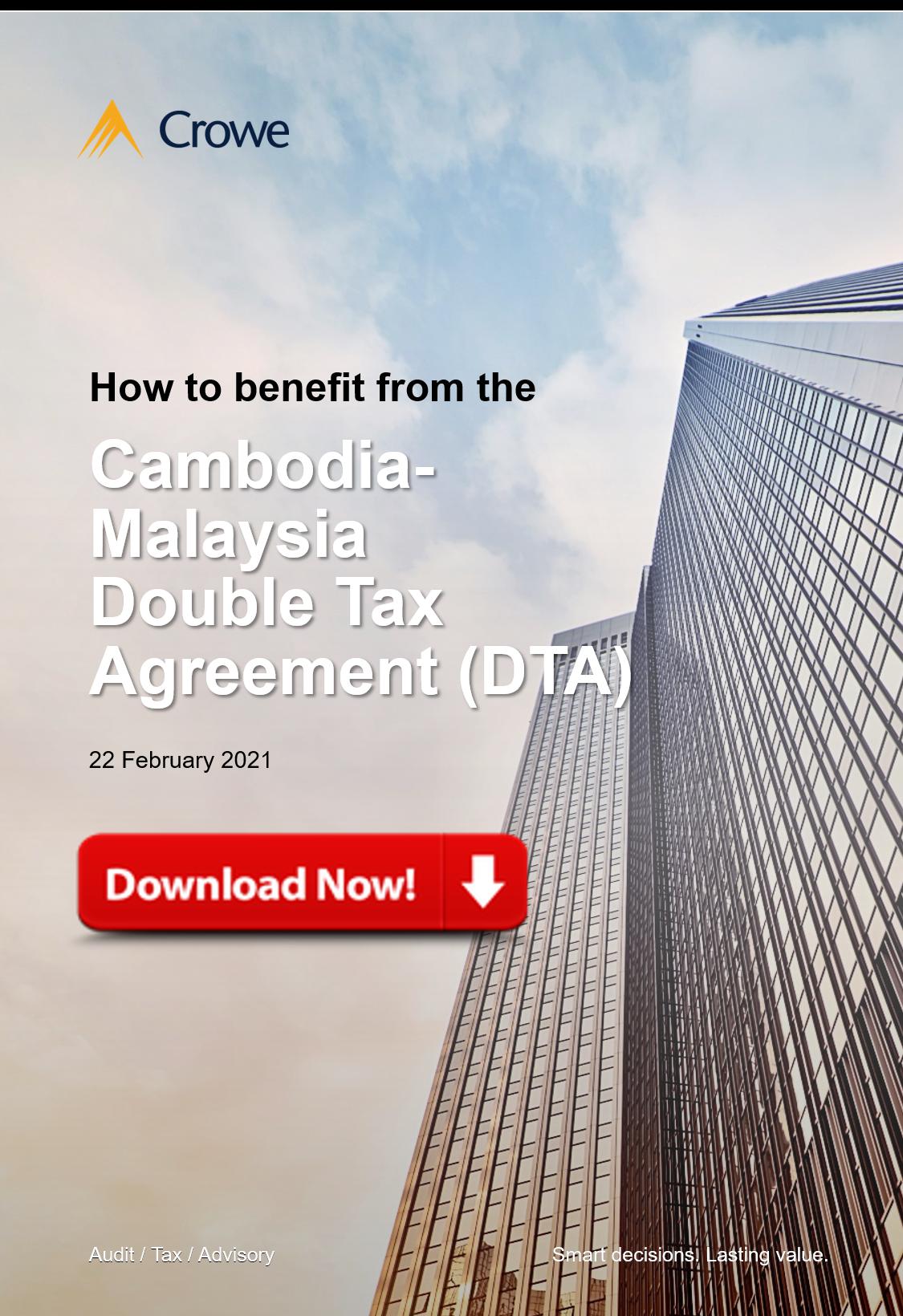 Cambodia Malaysia Double Tax Agreement (DTA)