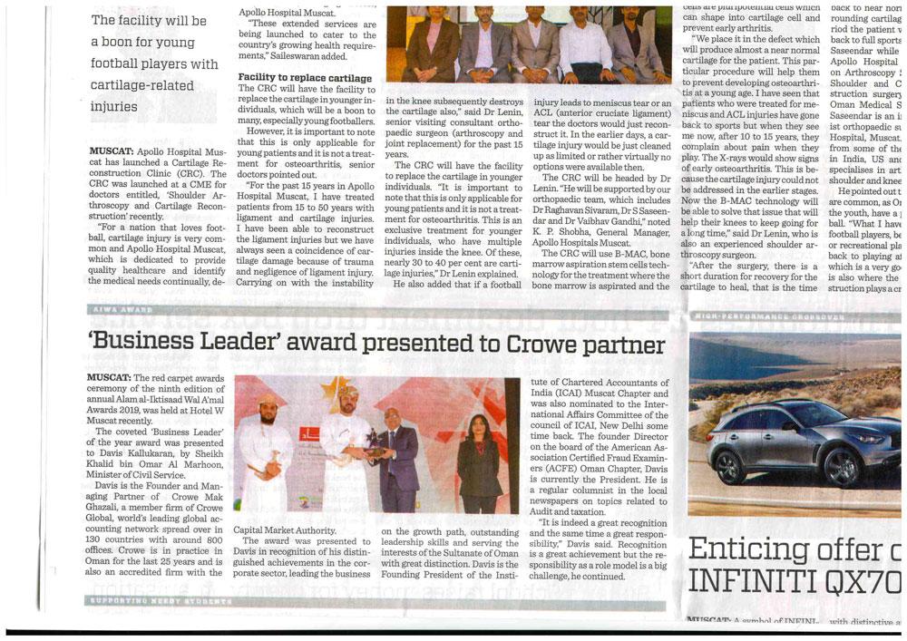 'Business Leader' Award'Presented to Crowe Partner