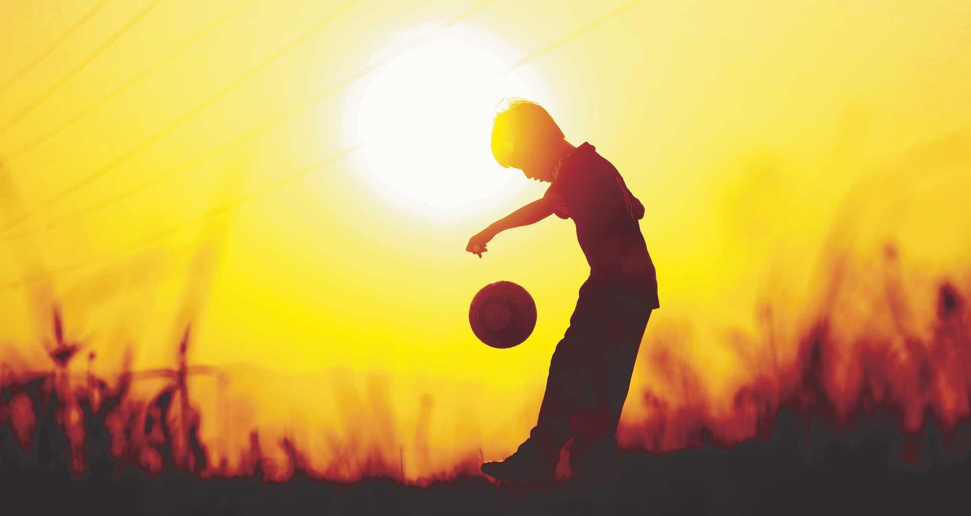 boy in sunset