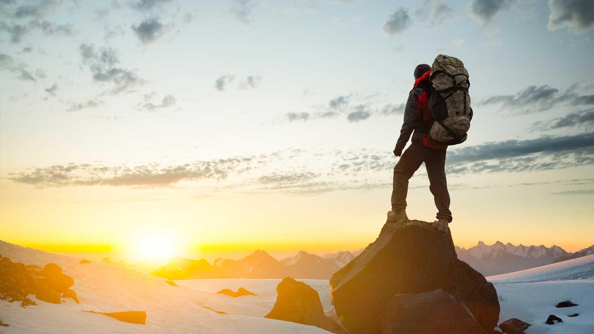 climber looking at mountain