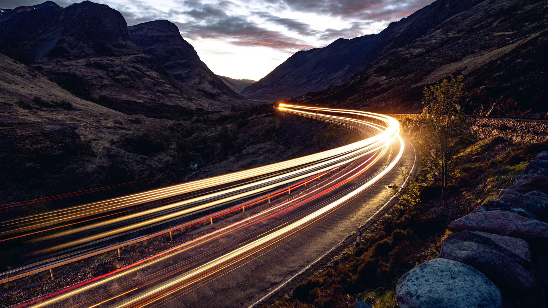 road illuminated at night