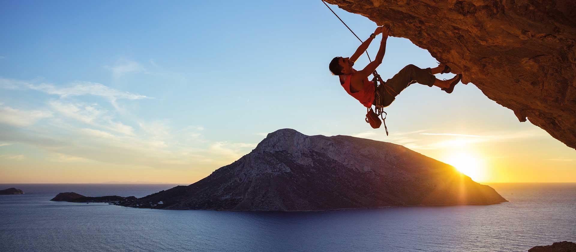 climber hanging