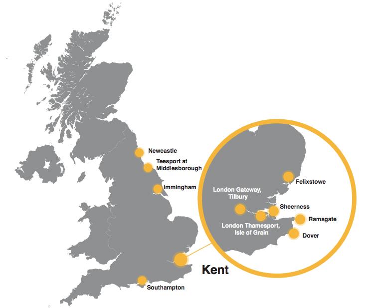 Potential Free Trade Zones in the UK: Newcastle, Teesport in Middlesborough, Immingham, Southampton, Felixstowe, London Gteway Tilbury, London Thamesport Isle of Grain, Dover, Ramsgate, Sheerness.